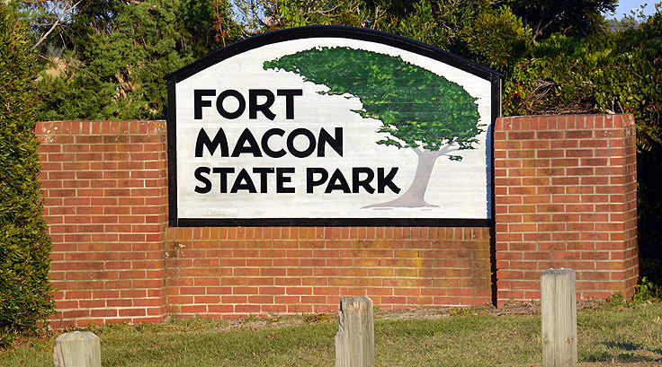 Fort Macon State Park welcome sign