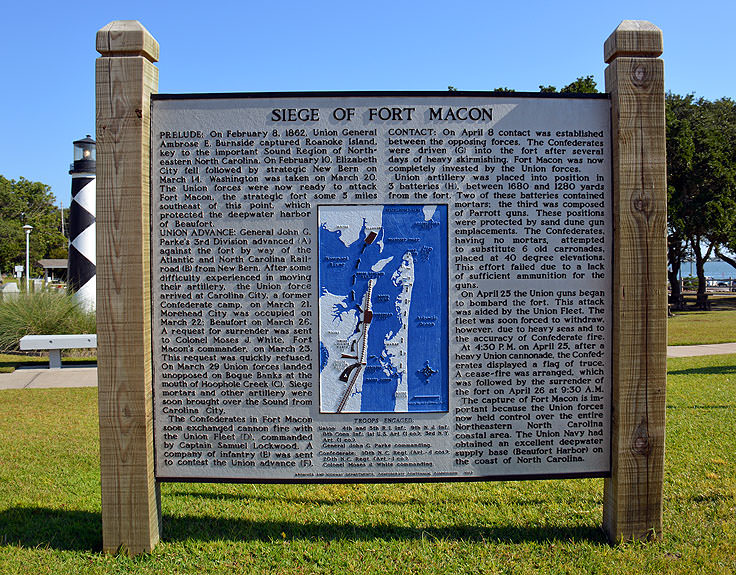 Siege of Fort Macon sign at the Crystal Coast Visitor Center
